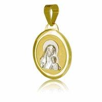 Φυλαχτό για κορίτσι οβάλ ανάγλυφο από χρυσό και λευκό χρυσό 14Κ. Είναι διακοσμημένο με ανάγλυφη απεικόνιση της Παναγίας με το βρέφος σε ματ φόντο με λουστρέ περίγραμμα. Συνδυάστε το με αλυσίδα ή παιδική παραμάνα.