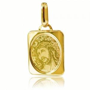 Φυλαχτό για νεογέννητο, από χρυσό 14Κ σε ορθογώνιο σχήμα. Είναι διακοσμημένο με χαραγμένη αποτύπωση του Χριστού σε λουστρέ και ματ φινίρισμα. Συνδυάστε το με αλυσίδα ή παιδική παραμάνα.