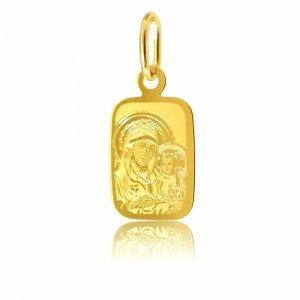 Χρυσό φυλαχτό για νεογέννητο 14Κ, σε ορθογώνιο σχήμα, με χαραγμενη απεικόνιση της Παναγίας βρεφοκρατούσας. Συνδυάστε το με αλυσίδα ή παιδική παραμάνα.