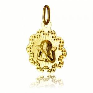 Φυλαχτό με αγγελάκι ανάγλυφο, από χρυσό 14Κ. Έχει ιδιαίτερο σχήμα και σφυρίλατη λεπτομέρεια στο περίγραμμα. Συνδυάστε το με αλυσίδα λαιμού ή παιδική παραμάνα.