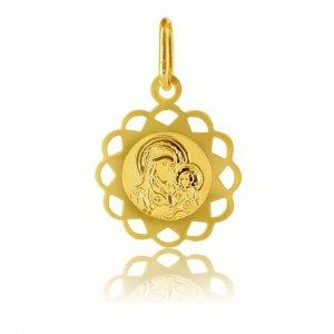 Φυλαχτό οικονομικό με Παναγία, από χρυσό 14Κ σε ιδιαίτερο σχήμα. Έχει χαραγμενη αποτύπωση της Παναγίας με το βρέφος και διάτρητο περίγραμμα. Συνδυάστε το με αλυσίδα ή παιδική παραμάνα.