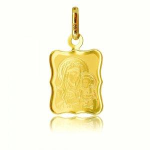 Φυλαχτό χρυσό κρεμαστό 14Κ, σε ιδιαίτερο σχήμα. Είναι διακοσμημένο με χαραγμένη απεικόνιση της Παναγίας με το βρέφος. Συνδυάστε το με αλυσίδα ή παιδική παραμάνα.