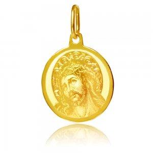 Παιδικό φυλαχτό από χρυσό 14Κ σε στρογγυλό σχήμα με χαραγμενη αποτύπωση του Χριστού.