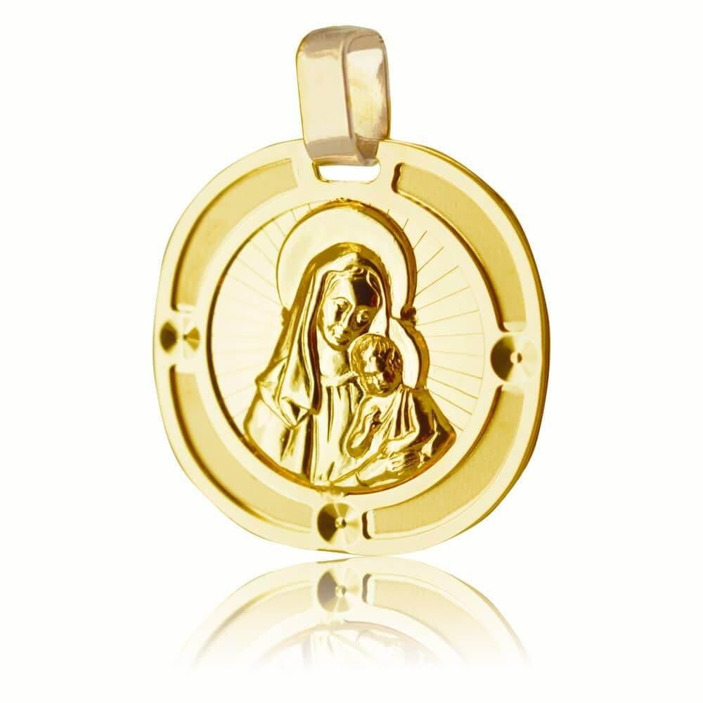 Παναγία για νεογέννητο φυλαχτό στρογγυλό ανάγλυφο, από χρυσό 14Κ σε ιδιαίτερο σχέδιο με ανάγλυφη αποτύπωση της Παναγίας με το βρέφος. Συνδυάστε το με αλυσίδα για τον λαιμό ή παιδική παραμάνα.