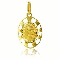 Φυλαχτό χρυσό για νεογέννητο στρογγυλό από χρυσό 14Κ σε διάτρητο σχέδιο. Είναι διακοσμημένο με χαραγμένη απεικόνιση της Παναγίας βρεφοκρατούσας. Συνδυάστε το με αλυσίδα για τον λαιμό ή παιδική παραμάνα.