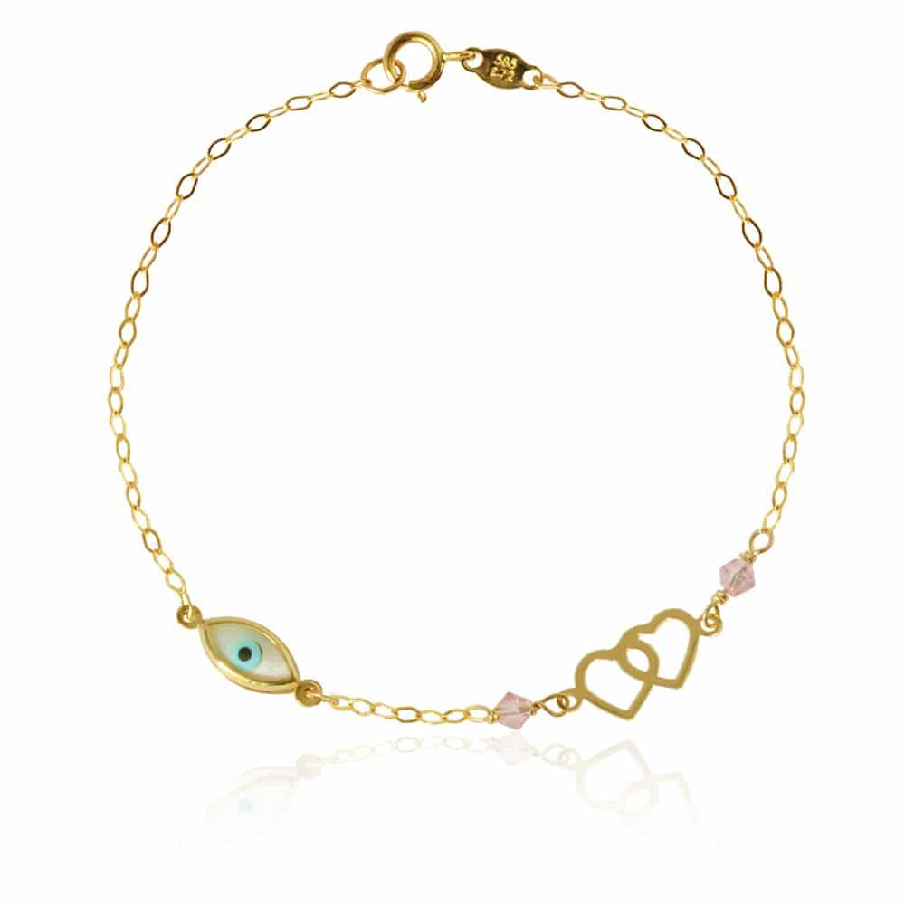 fdbc9141804 Βραχιόλι με καρδιά και ματάκι, γυναικείο, από χρυσό 14Κ. Είναι διακοσμημένο  με ματάκι
