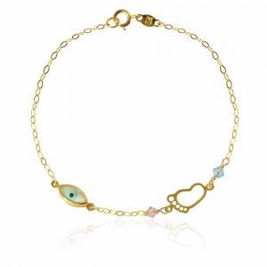 Βραχιόλι χρυσό με πατούσα και ματάκι, γυναικείο, 14Κ. Είναι διακοσμημένο με ματάκι από φίλντισι και πατούσα σε διάτρητο σχέδιο. Έχει επίσης, δύο συνθετικές πέτρες σε ροζ και γαλάζιο χρώμα .
