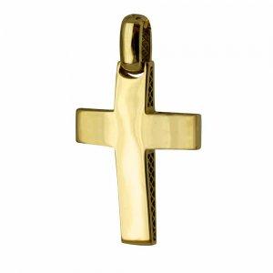 Σταυρός ανδρικός κλασικός διπλής όψης από χρυσό 14Κ, με λουστρέ ή σαγρέ φινίρισμα με τον Εσταυρωμένο. Συνδυάστε τον με τις προτεινόμενες αλυσίδες.
