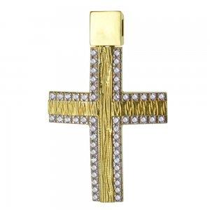 Γυναικείος βαπτιστικός σταυρός διπλής όψης από χρυσό 14Κ σε ματ φινίρισμα με λευκά ζιργκόν ή λουστρέ. Συνδυάστε τον με τις προτεινόμενες αλυσίδες.