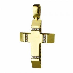 Διπλής όψης γυναικείος σταυρόςαπό χρυσό 14Κ σε λουστρέ φινίρισμα με λευκά ζιργκόν ή σαγρέ υφή . Συνδυάστε τον με τις προτεινόμενες αλυσίδες.