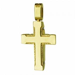 Σταυρός με ζιργκόν γυναικείος ,διπλής όψης από χρυσό 14Κ σε λουστρέ φινίρισμα ή σαγρέ λεπτομέρειες . Συνδυάστε τον με τις προτεινόμενες αλυσίδες.
