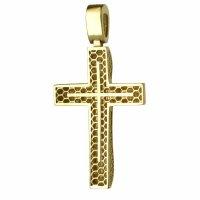 Γυναικείος χρυσός σταυρός διπλής όψης 14Κ σε λουστρέ φινίρισμα με λευκά ζιργκόν ή διάτρητο πλέγμα. Συνδυάστε τον με τις προτεινόμενες αλυσίδες.