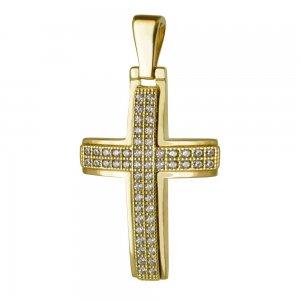 Ολόπετρος βαπτιστικός σταυρός διπλής όψης από χρυσό 14Κ σε λουστρέ φινίρισμα με λευκά ζιργκόν σε όλη την επιφάνεια ή ανάγλυφο διάκοσμο. Συνδυάστε τον με τις προτεινόμενες αλυσίδες.
