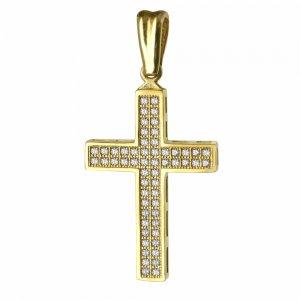 Βαπτιστικός επίπεδος σταυρός διπλής όψης από χρυσό 14Κ σε λουστρέ φινίρισμα με λευκά ζιργκόν σε όλη την επιφάνεια ή διάτρητο πλέγμα. Συνδυάστε τον με τις προτεινόμενες αλυσίδες.