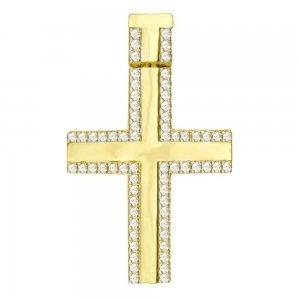 Σταυρός με ιδιαίτερο κρίκο, διπλής όψης από χρυσό 14Κ σε λουστρέ φινίρισμα με λευκά ζιργκόν περιμετρικά. Συνδυάστε τον με τις προτεινόμενες αλυσίδες.