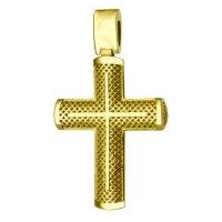 Ανάγλυφος γυναικείος βαπτιστικός σταυρός διπλής όψης από χρυσό 14Κ. Έχει ματ υφή και λευκά ζιργκόν στο κέντρο ή διάτρητο πλέγμα. Συνδυάστε τον με τις προτεινόμενες αλυσίδες.
