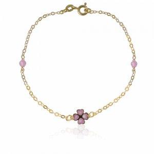 Βραχιόλι παιδικό για κορίτσι από χρυσό 14Κ, διακοσμημένο με τετράφυλλο τριφύλλι και συνθετικές πέτρες σε υπέροχες ροζ αποχρώσεις.
