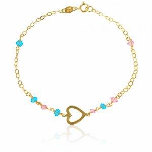 Bραχιολάκι χρυσό με καρδιά 14Κ σε λουστρέ φινίρισμα. Είναι διακοσμημένο με διάτρητη πλάγια καρδιά και συνθετικές πέτρες σε ροζ και γαλάζιο χρώμα.