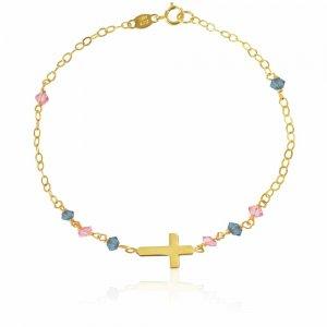 Βραχιόλι παιδικό με σταυρό από χρυσό 14Κ. Είναι διακοσμημένο με ροζ και γαλάζιες συνθετικέ πέτες και μικρό σταυρό σε λουστρέ φινίρισμα.