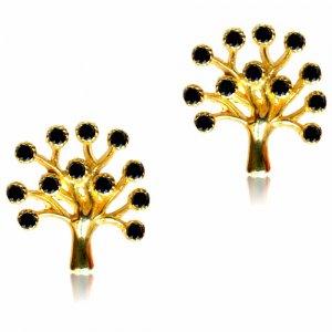 Σκουλαρίκια δέντρο της ζωής από χρυσό 14Κ σε λουστρέ φινίρισμα. Είναι διακοσμημένα με μαύρες πέτρες ζιργκόν.
