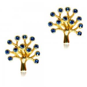 Σκουλαρίκι δέντρο της ζωής από χρυσό 14Κ σε λουστρέ φινίρισμα. Είναι διακοσμημένα με πράσινες πέτρες ζιργκόν.