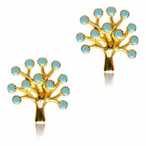 Δέντρο της ζωής σκουλαρίκι καρφωτό από χρυσό 14Κ σε λουστρέ φινίρισμα. Είναι διακοσμημένα με γαλάζιες πέτρε ζιργκόν.