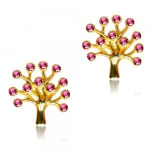 Σκουλαρίκια καρφωτά δέντρο της ζωής από χρυσό 14Κ σε λουστρέ φινίρισμα. Είναι διακοσμημένα με ροζ πέτρες ζιργκόν.
