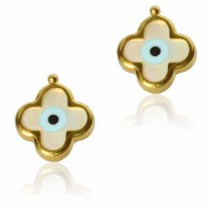 Σκουλαρίκια καρφωτά ματάκια από χρυσό 14Κ με λευκό φίλντισι, σε λαμπερό λουστρέ φινίρισμα.