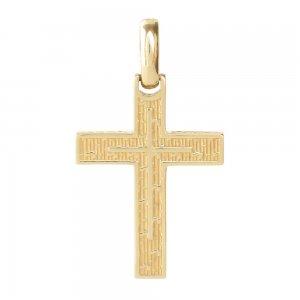 Βαπτιστικός σταυρός οικονομικός διπλής όψης από χρυσό 14Κ, με λουστρέ ή ανάγλυφο φινίρισμα. Συνδυάστε τον με τις προτεινόμενες αλυσίδες.