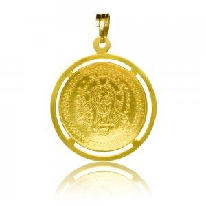 Κωνσταντινάτο χρυσό 14Κ, διπλής όψης, με ανάγλυφες απεικονίσεις και διάτρητο περίγραμμα.