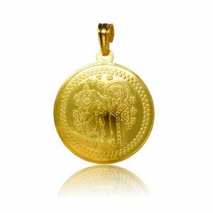 Κωνσταντινάτο χρυσό 14Κ, διπλής όψης, με ανάγλυφες απεικονίσεις σε στρογγυλό σχήμα.