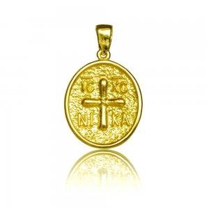 Κρεμαστό κωνσταντινάτο από χρυσό 14Κ, σε οβάλ σχέδιο διπλής όψης, με ανάγλυφο διάκοσμο.