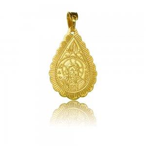 Κωνσταντινάτο κρεμαστό από χρυσό 14Κ, σε ιδιαίτερο σχέδιο διπλής όψης. Έχει σχήμα δάκρυ και ανάγλυφες απεικονίσεις.