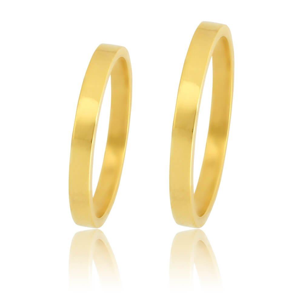 Βέρες οικονομικές πλακέ από χρυσό 14Κ, με τετραγωνισμένη επιφάνεια 2.5 mm σε λουστρέ λαμπερό φινίρισμα. Η αρχική τιμή αναφέρεται σε μία βέρα Νο 15 και μεταβάλλεται ανάλογα με το νούμερό σας.
