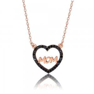 Κολιέ καρδιά ΜΟΜ ροζ επίχρυσο από ασήμι 925. H καρδιά είναι διακοσμημένη με γαλάζιες πέτρες ζιργκόν.