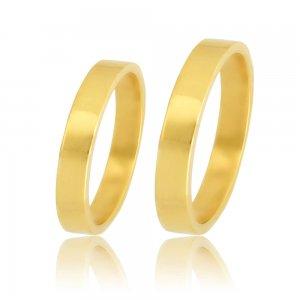 Βέρες γάμου κλασικές πλακέ, από χρυσό 14Κ, με τετραγωνισμένη επιφάνεια 3 mm σε λουστρέ λαμπερό φινίρισμα. Η αρχική τιμή αναφέρεται σε μία βέρα Νο 10 και μεταβάλλεται ανάλογα με το νούμερό σας.