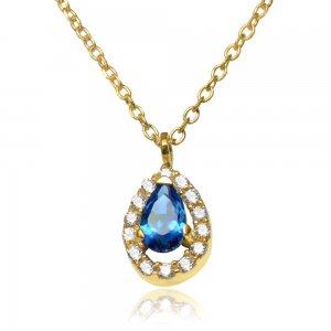 Κολιέ ροζέτα δάκρυ από χρυσό 14Κ, διακοσμημένο με ένα μπλε ζιργκόν σε σχήμα δάκρυ και διακριτικά λευκά ζιργκόν περιμετρικά.