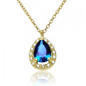 Κολιέ δάκρυ ροζέτα από χρυσό 14Κ, διακοσμημένο με ένα μπλε ζιργκόν σε σχήμα δάκρυ και διακριτικά λευκά ζιργκόν περιμετρικά.