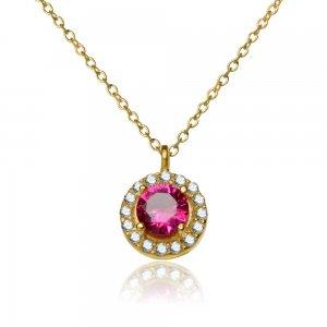 Κολιέ στρογγυλή ροζέτα από χρυσό 14Κ, διακοσμημένο με ένα κόκκινο ζιργκόν σε στρογγυλό σχήμα και διακριτικά λευκά ζιργκόν περιμετρικά.