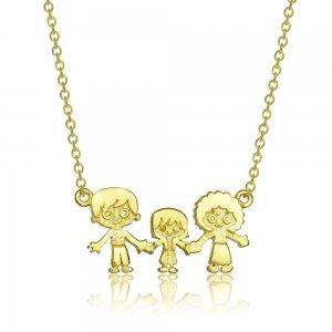 Κολιέ οικογένεια με κορίτσι από χρυσό 14Κ. Η κρεμαστή οικογένεια έχει ανάγλυφα χαρακτηριστικά και συνδυασμό λουστρέ και ματ φινιρίσματος.