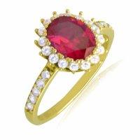 Δαχτυλίδι ροζέτα από χρυσό 14Κ, σε οβάλ σχήμα. Είναι διακοσμημένο με ένα οβάλ κόκκινο ζιργκόν στο κέντρο και λευκά περιμετρικά.