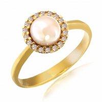 Δαχτυλίδι γυναικείο με μαργαριτάρι, σε σχέδιο ροζέτα, από λευκό χρυσό 14Κ. Είναι διακοσμημένο με ένα μαργαριτάρι στο κέντρο και λευκά ζιργκόν περιμετρικά.