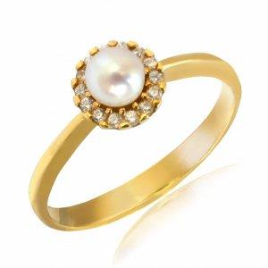 Δαχτυλίδι ροζέτα με μαργαριτάρι, από λευκό χρυσό 14Κ σε στρογγυλό σχήμα. Είναι διακσομημένο με ένα μαργαριτάρι στο κέντρο και λευκά ζιργκόν.