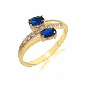 Δαχτυλίδι γυναικείο χρυσό 14Κ, διακοσμημένο με δύο μπλε ζιργκόν σε οβάλ σχήμα και λευκά ζιργκόν στη μέση.