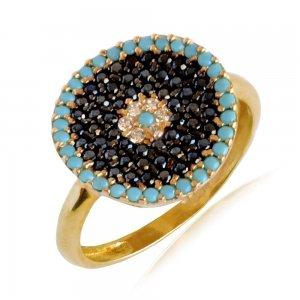 Δαχτυλίδι στόχος από χρυσό 14Κ, σε στρογγυλό σχήμα, διακοσμημένο με μαύρα, λευκά ζιργκόν και συνθετικές τυρκουάζ πέτρες.