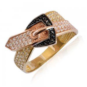Δαχτυλίδι ζώνη από χρυσό και ροζ χρυσό 14Κ, διακοσμημένο με συνδυασμό λευκών και μαύρων ζιργκόν.