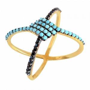 Δαχτυλίδι γυναικείο χιαστί από χρυσό 14Κ σε μοντέρνο σχέδιο, διακοσμημένο με μαύρα ζιργκόν και γαλάζιες συνθετικές τυρκουάζ πέτρες.
