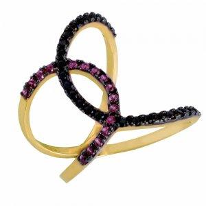 Δαχτυλίδι ροζ χρυσό με ζιργκόν 14Κ σε ιδιαίτερο σχέδιο με ημικύκλια. Είναι διακοσμημένο με μαύρα και φούξια ζιργκόν.