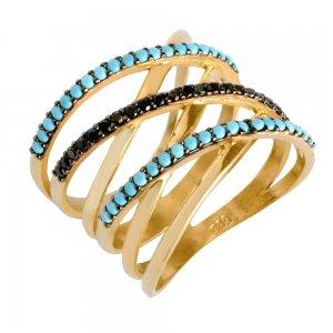 Γυναικείο μοντέρνο δαχτυλίδι από χρυσό 14Κ, σε ιδιαίτερο σχέδιο με πολλές χιαστί ευθείες.Είναι διακοσμημένο με μαύρα ζιργκόν και γαλάζιες συνθετικές τυρκουάζ πέτρες.