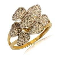 Γυναικείο δαχτυλίδι δίχρωμο από χρυσό και λευκό χρυσό 14Κ. 'Εχει εντυπωσιακό σχεδιασμό με πέταλα λουλουδιού, διακοσμημένα με λευκά ζιργκόν.